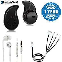 Drumstone Wireless S530 Mini (Call & Music) Headset, Usb 4 In 1 Multi Charging Cable & Earphone WIth Mic, Handsfree Headset With Deep Bass And Music Equalizer Works With All Android Or Iphone Devices (1 Year Warranty, Color May Vary)