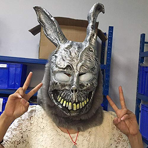 nny Halloween Maske Evil Bunny Silber Perücke Maskerade Party Animal tiermaske ()