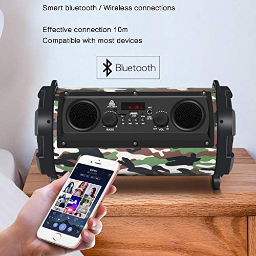 GNAIQUY Enceinte Bluetooth Intelligent-Lumières colorées Super Veille Basse 15W Carte Multifonction Son FM Support Disque U, Carte TF, Carte SD,Green