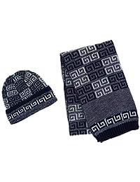 9aab623806ec CTM - Ensemble bonnet, écharpe et gants - Imprimé aztèque - Homme