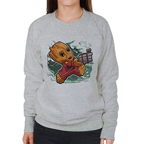 Tiny Groot Guardians Of The Galaxy II Women's Sweatshirt Heather Grey