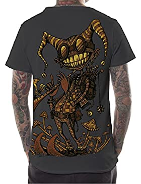 Camiseta psicodélica Fiddler con arte gráfico urbano - Ropa alternativa en algodón 100% para hombre