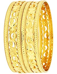 The Jewelbox Flower Filigree Weading 22K Gold Plated Bangle Pair Set Of 6 For Women