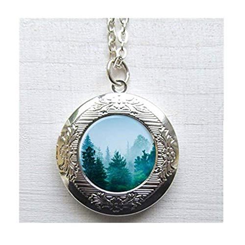 Orest Medaillon Halskette, Baum Medaillon, Mountain Halskette, Kiefer, Baum Schmuck