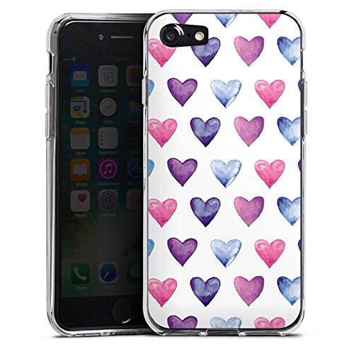 Apple iPhone X Silikon Hülle Case Schutzhülle Herz Muster Pink Silikon Case transparent