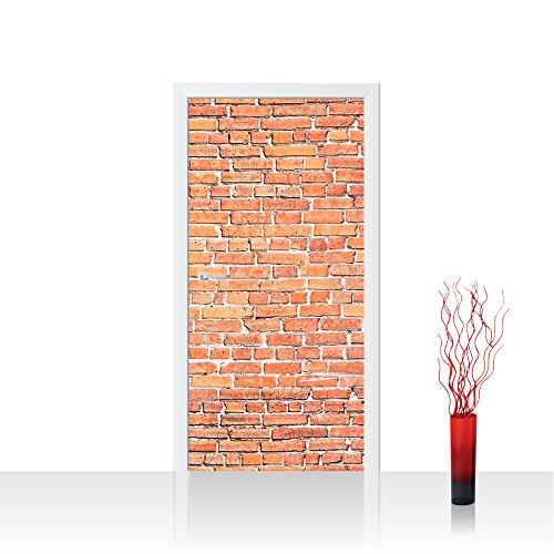 Türtapete selbstklebend 100x211 cm PREMIUM PLUS Tür Fototapete Türposter Türpanel Foto Tapete Bild - RED BRICK STONE WALL - Wandbild Steinwand Steintapete Ziegelwand Ziegel rot Ziegelmauer - no. 136 (Finish Brick Red)