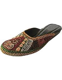 Créations Kalra De Chaussures En Cuir Faux Traditionnel Femme Indienne Occasionnels, Brun, Taille 40 Eu