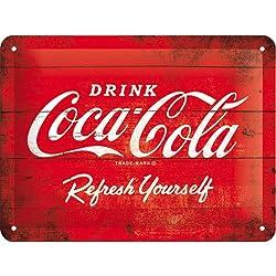 Nostalgic Cartel de chapa 15x20 -Coca-Cola - Logo Red Refresh Yourself