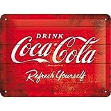 Cartel de chapa 15x20 -Coca-Cola - Logo Red Refresh Yourself