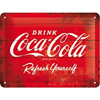 Nostalgic-Art Cartel de chapa 15x20 -Coca-Cola - Logo Red Refresh Yourself