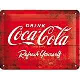 Cartel de chapa 15x20 -Coca-Cola - Logo Red Refresh Yourself
