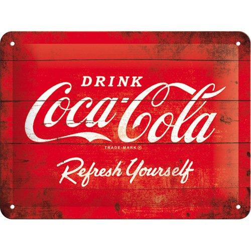 Nostalgic-Art Cartel de chapa 15x20 -Coca-Cola - Logo Red Refresh Yourself