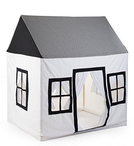 Childhome- Spielzelt Haus Spielhaus Bude 100% Baumwolle Holzpfeiler, 125x95x145cm, Weiß