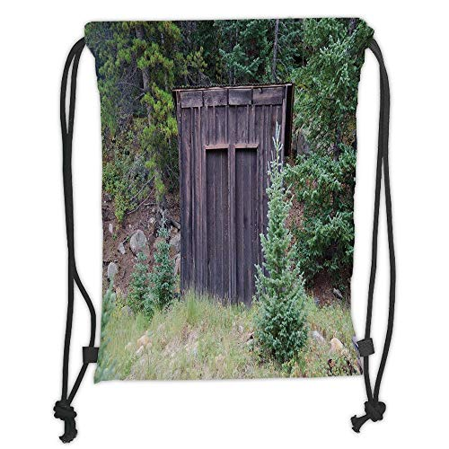 Fashion Printed Drawstring Backpacks Bags,Outhouse,Farm Life House Wooden Door of Cottage Hut in Woodland Leaves Art Print,Dark Brown and Green Soft Satin,5 Liter Capacity,Adjustable String Closur