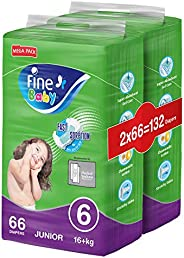 Fine Baby Diapers, DoubleLock Technology , Size 6, Junior 16kg +, Mega Pack. 132 diaper count