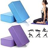 Masione® 2PACKS EVA Yoga Exercise Props Block Brick Foam for Yoga Pilates Gym Exercise Fitness Trainer Sport Tool (Purple)