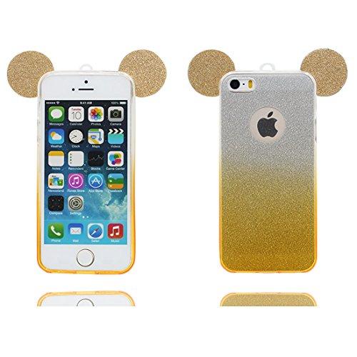 iPhone 5 étui Cover Housse, Coque iPhone 5S SE 5C 5G, Silicone Case poussière glissement résistant aux rayures (3D Oreille de souris) jaune jaune