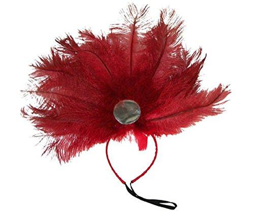 Tänzerin Kostüm Brasilianische - Brasilianisches Feder Kopfband Samba Rot Schwarz - Toller Kopfschmuck zur Samba Tänzerin