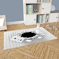 Çocuk Odası Oyun Halısı, Kaymaz Tabanlı Halı ve Kilimler, 3 Boyutlu Beyaz Kiremitler Desenli Kız Erkek Çocuk Odası Halısı, Bebek Odası Halısı (80x120 cm)
