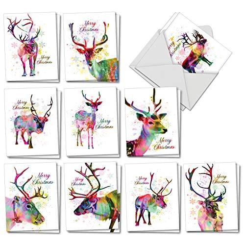The Best Card Company Funky Rainbow Rentier - 20 sortierte Weihnachtskarten mit Umschlägen, 10 x 13 cm - Aquarell in Season\'s Bright Color Splashes AM7377XSG-B2x10