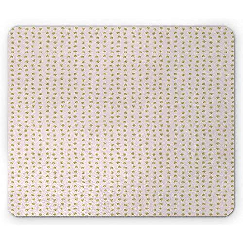 Khaki-Mausunterlage,Sport-Themenorientiertes Sich Wiederholendes Muster Mit Einfachem Tennisball-Druck,Rutschfestes Gummi-Mousepad des Rechtecks,Baby-Rosa Und Khaki