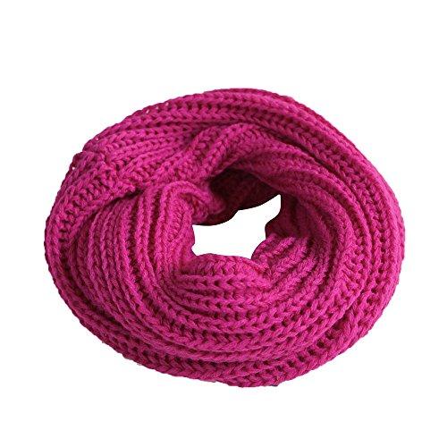 Imixcity®Hommes et Femmes Enfants Automne/Hiver Main écharpe Tricotée Tube écharpe mode Grille 9 Couleurs en Option(20cm*30cm) 20 x 30 cm / Rose rouge