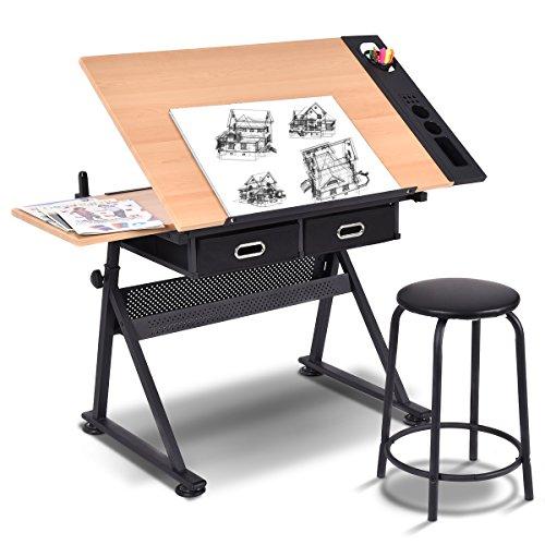 COSTWAY Zeichentisch Architektentisch Schreibtisch Schülerschreibtisch Bürotisch höhenverstellbar neigungsverstellbar, mit Schubladen und Hocker