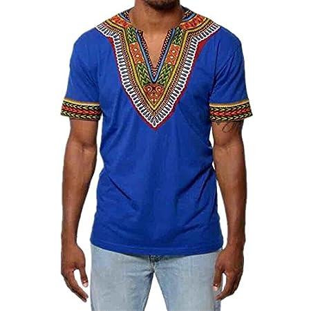 T-Shirt Africain, Magiyard Décontracté à col en V Imprimé Chemise à Manches Courtes pour Hommes