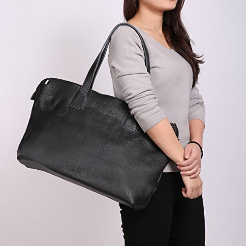 Leathario sac femme sac à main pour femme sac bandoulière cuir véritable sac à épaule sac loisirs sac shoppings pour femmes Noir