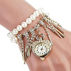 WINWINTOM Heart-Shaped Pearl Tassels Diamond Watch