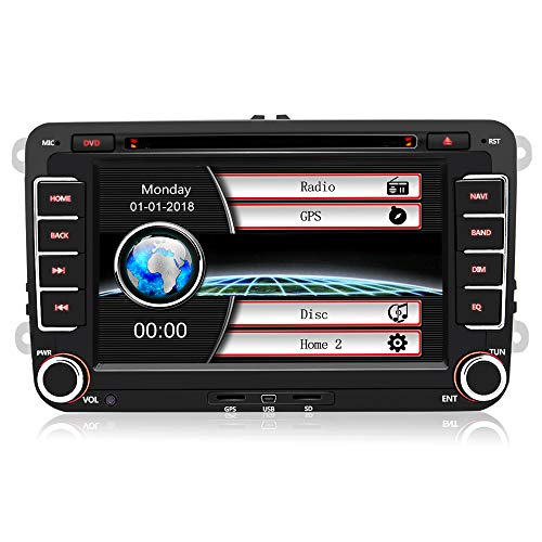 Car Radio with Touch Screen 2 DIN Player MP5 Multimedia 7 'Car, Radio GPS Navigator with Bluetooth GPS, CD DVD, FM RDS for VW with Map Card 8GB Free