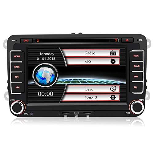 7 Zoll 2 Din Autoradio für VW Golf Seat mit Wince System DVD Player GPS Navigation FM AM Radio Bluetooth USB CD unterstützt Lenkrad Bedienung (Auto Dvd Radio)