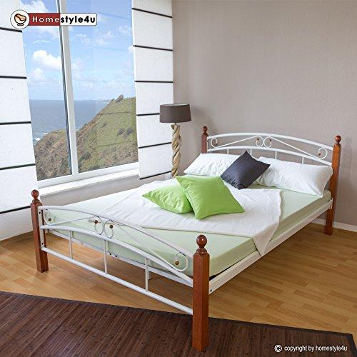Homestyle4u Metallbett 160 x 200 Bettgestell Doppelbett Bettrahmen + Lattenrost 8077 weiß