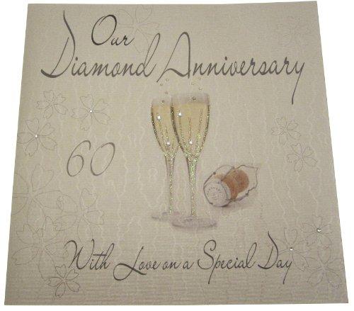 carte di cotone bianco Codice XLWA60R sulla nostra mano modello di diamante matrimonio, grande nozze Anniversario Card Design Bicchieri di