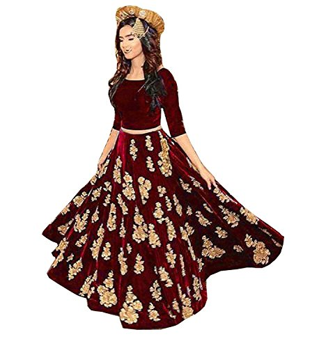 DS Fabs Maroon colour Velvet Semi-Stitched Gown style Women's choli mastani