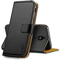 Anjoo Kompatibel für Samsung Galaxy J5 2017 Hülle, Handyhülle für Galaxy J5 2017 Schutzhülle, Tasche Leder Flip Case Brieftasche Etui mit Kartenfach und Ständer für Samsung J5 2017 (Schwarz)