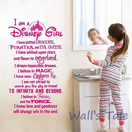 Prinzessin Mädchen Zitat Wandtattoos Mädchen Room Decor Positive Spruch Vinyl Wandaufkleber Fairy Girl Wandbild Kindergarten Kunst Decor 56 * 31 cm