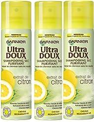 Garnier - Ultra DOUX Shampooing Sec Purifiant à l'Extrait de Citron - Cheveux Gras - Lot de 3