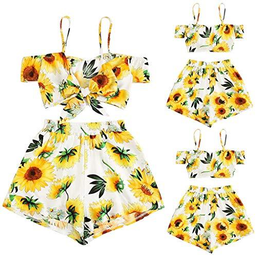 TianranRT★ Damenmode Sunflower Sexy Print Top Hose Sexy Hose Zurück Shortsyellow