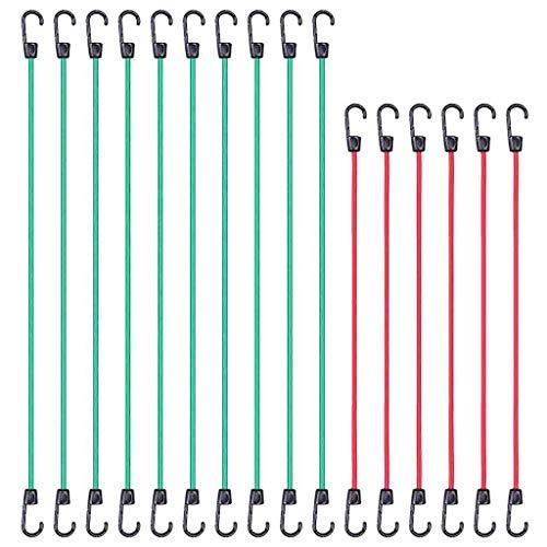 POTOU Elastisches Seil Bungee Cord Elastic Gepäckriemen Seil Haken Stretch Tie Down Car Bike Beste Wahl 16/24 / 28Piece Premium Bungee Cord Sortiment im Vorratsglas (A)