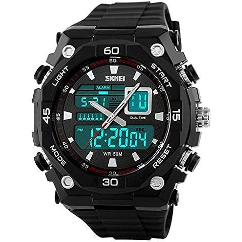 So Ver Hombres de deportes relojes cuarzo reloj militar impermeable al aire libre doble tiempo reloj negro, color negro