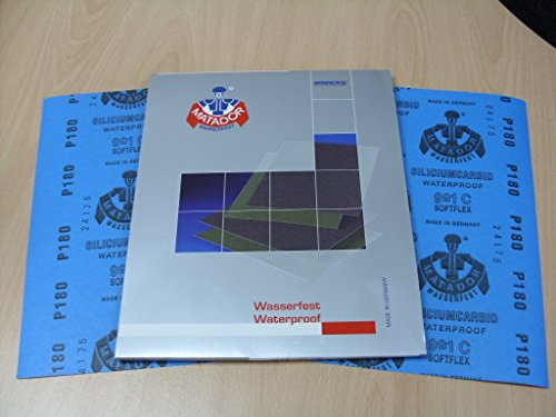Starcke Matador Wet and dry sandpaper. C Weight 1 pack of 10 sheets P180