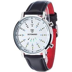 Detomaso Spacy Timeline 2 - Reloj de cuarzo para hombres, con correa de cuero de color negro, esfera plateada