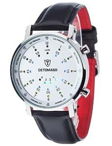 Detomaso - G-30730-S - Montre Homme - Quartz Digital - Cadran Argent - Bracelet Cuir Noir