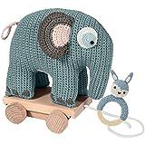 Sebra Welcome Elefant und Häkel-Rassel Hase in Blau für Jung Geburtsgeschenk Geschenk-Set 100% Baumwolle NEU Sebra0131
