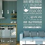 Cita francesa Cita Reglas de cocina Calcomanía Vinilo Wal Pegatinas Arte Mural Decoración para el hogar Sala de estar Decoración Cartel 72 * 110 cm