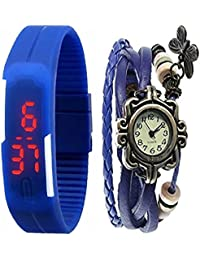 Jack Klein Combo of Leather And Silicone Strap Analog And Digital Wrist Watches For Men, Women