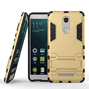 Chevron Back Cover Case for Xiaomi RedMi Note 3 (Gold) [Military Grade Version 2.0 with Kick Stand Hybrid Back Cover Case]