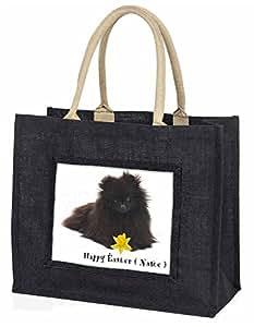 Advanta–Große Einkaufstasche personalisierbar Pommerschen Große Einkaufstasche Weihnachtsgeschenk Idee, Jute, schwarz, 42x 34,5x 2cm