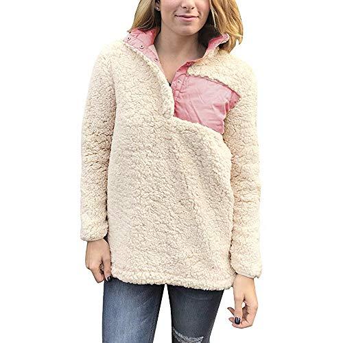 Longra Damen Fleecepullover Winterpullover Winterpullis Fleece Pullover mit Stehkragen Damen Pullover Langarm Strickpullover Winter Warm Wollpullover Teddy-Fleece Sweatshirt Sweater